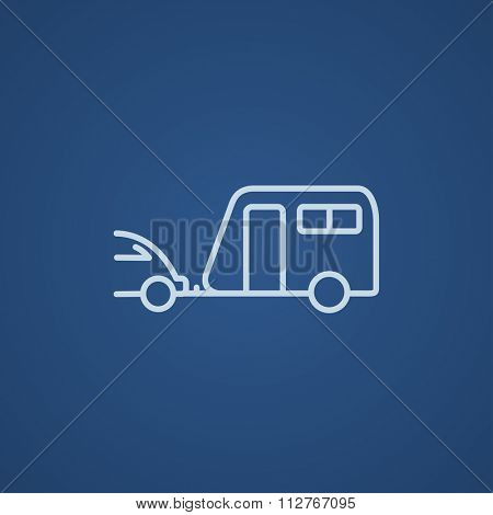 Car with caravan line icon for web, mobile and infographics. Vector light blue icon isolated on blue background.