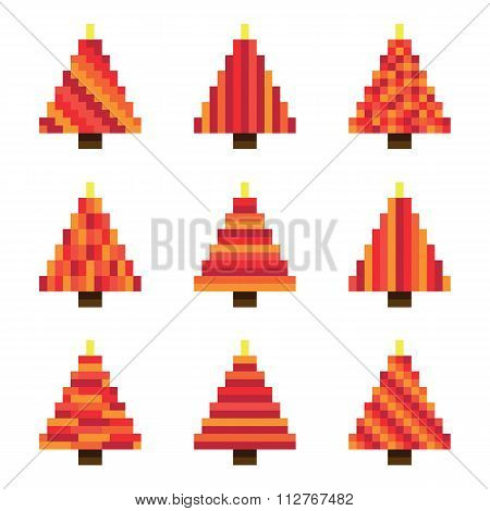 Red pixel Christmas trees