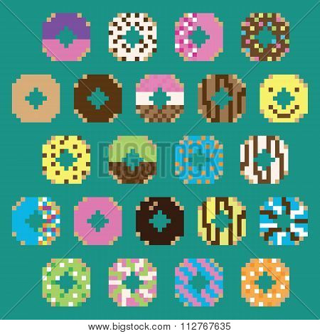 Collection of retro pixel donuts in vector