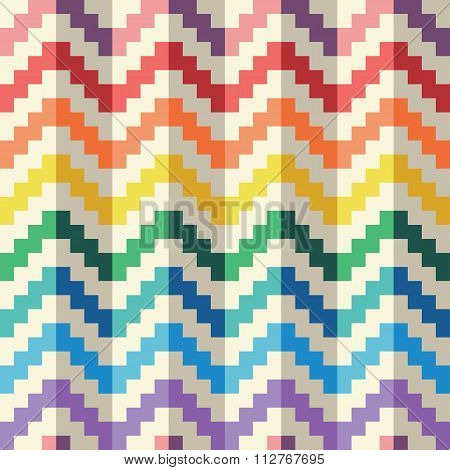 Seamless abstract zigzag pixel pattern in vector