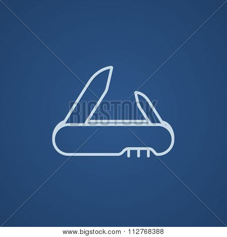 Jackknife line icon for web, mobile and infographics. Vector light blue icon isolated on blue background.