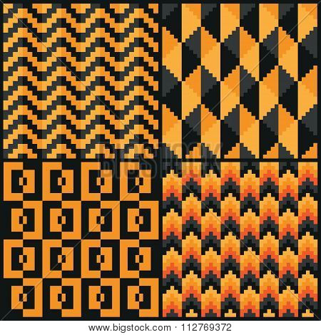 Four Seamless abstract geomatric pixel Halloweend patterns