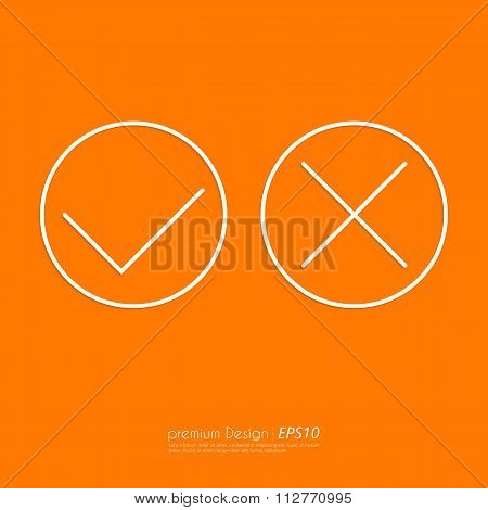Stock Vector Linear icon yes and no