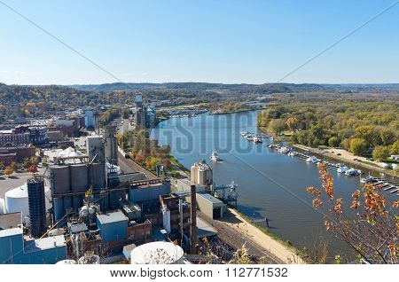 Aerial Of Mississippi River Through Red Wing
