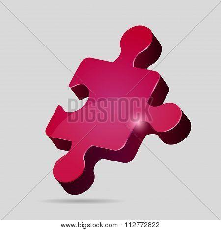 Pink 3D puzzle piece
