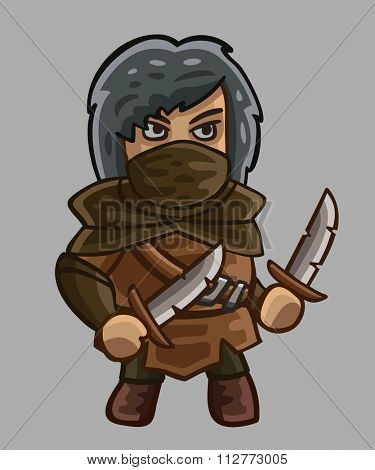 Medieval game character rogue. Vector illustration