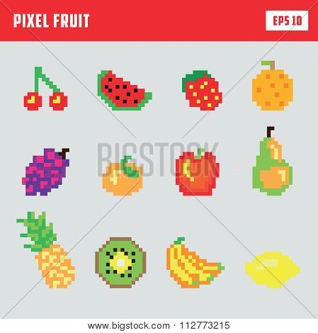 Retro pixel fruit, game icon set