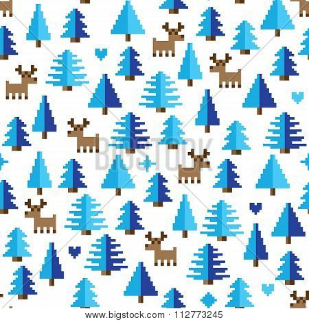 Colorful Pixel Pattern with winter wonderland Elements