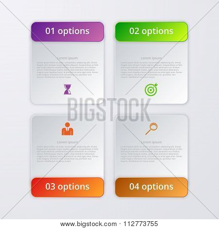 Vector illustration infographics four options.