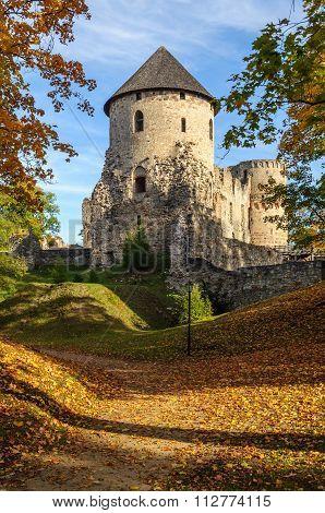 Autumn park with castle ruins