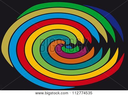 Playful lines in round colorful shape