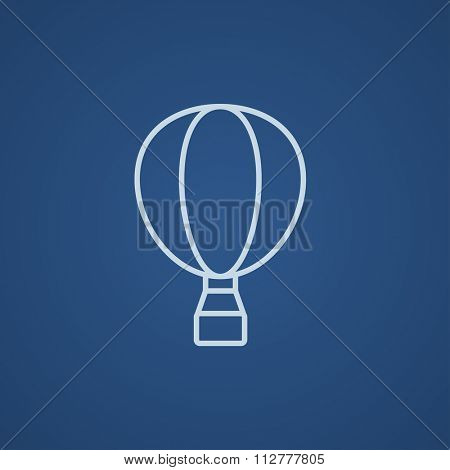 Hot air balloon line icon for web, mobile and infographics. Vector light blue icon isolated on blue background.