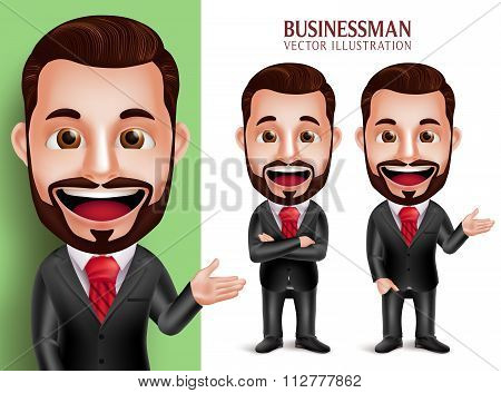 Business Man Vector Character Smiling in Attractive Corporate Attire