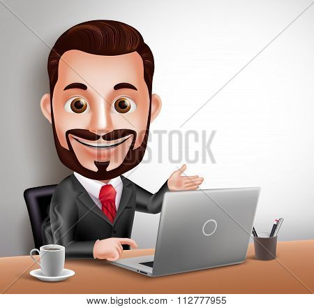 usiness Man Vector Character Happy Sitting and Working in Office Desk