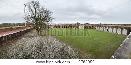 Fort Pulaski, confederate fort that was bombarded and taken by union forces in the American Civil War, 180 degree panorama