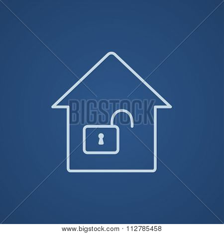 House with an open lock line icon for web, mobile and infographics. Vector light blue icon isolated on blue background.