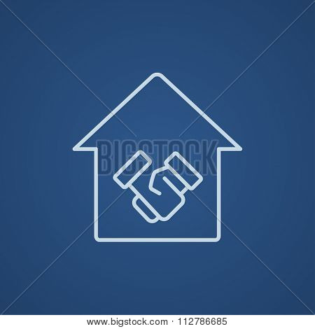 Handshake and successful real estate transaction line icon for web, mobile and infographics. Vector light blue icon isolated on blue background. poster
