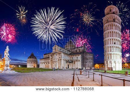 New Years firework display in Pisa, Italy