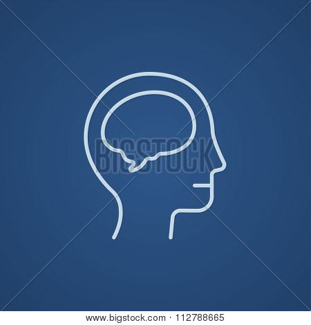 Human head with brain line icon for web, mobile and infographics. Vector light blue icon isolated on blue background.