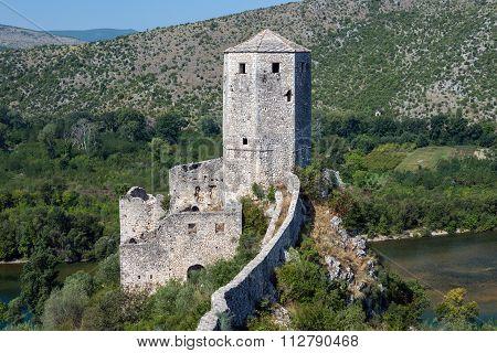 medieval fortress in Pocitelj village in Bosnia and Herzegovina poster