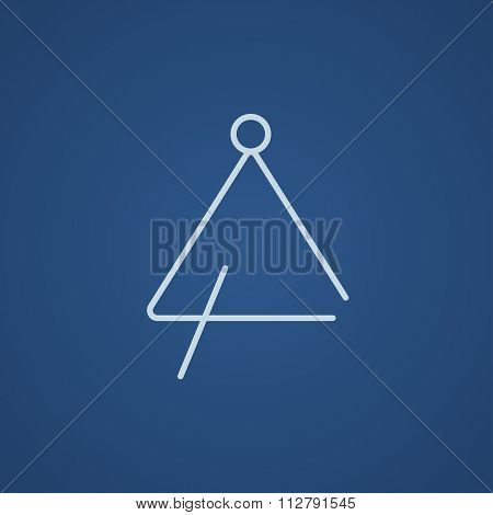 Triangle line icon for web, mobile and infographics. Vector light blue icon isolated on blue background.