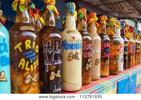 Rhum Bottles Assortment On Market Stall