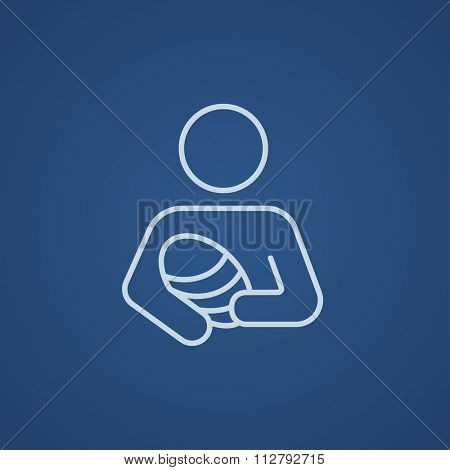Woman holding the baby line icon for web, mobile and infographics. Vector light blue icon isolated on blue background.