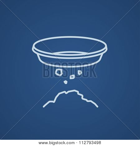 Bowl for sifting gold line icon for web, mobile and infographics. Vector light blue icon isolated on blue background.