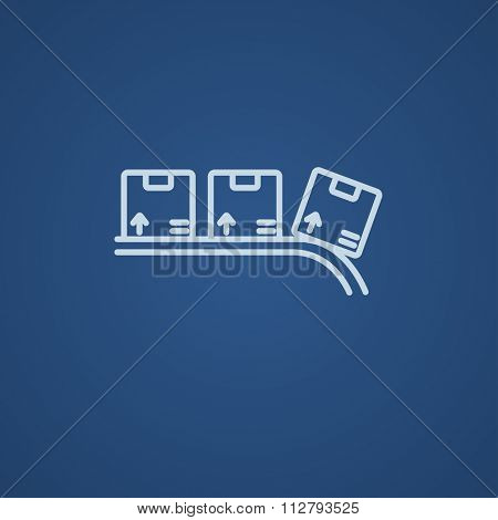 Cardboard box on conveyor belt line icon for web, mobile and infographics. Vector light blue icon isolated on blue background.