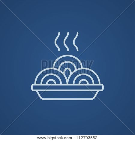 Hot meal in plate line icon for web, mobile and infographics. Vector light blue icon isolated on blue background.