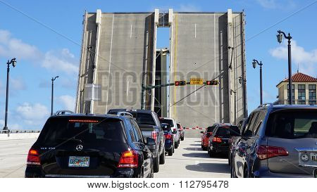 PALM BEACH, FL - NOV 29: Drawbridge in Palm Beach, Florida, as seen on Nov 29, 2015. The Intracoastal Waterway separates Palm Beach from the neighboring cities of West Palm Beach and Lake Worth.