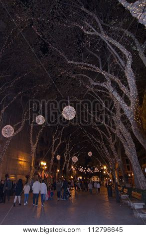 Christmas Decorations On Passeig Del Born