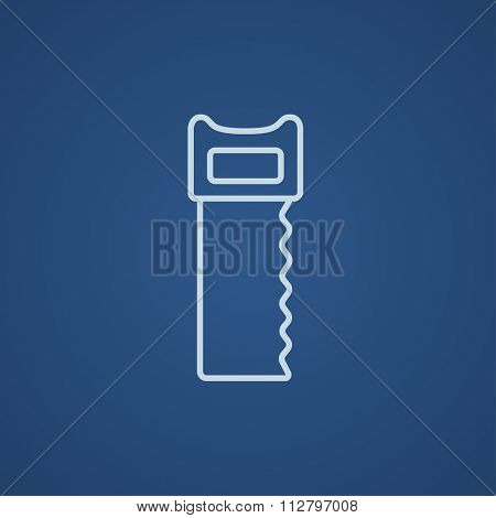 Saw line icon for web, mobile and infographics. Vector light blue icon isolated on blue background.