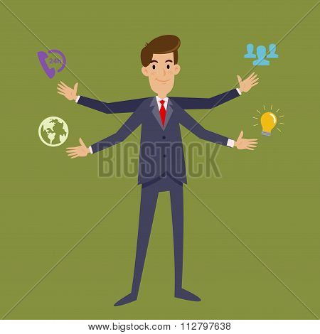 Multi Tasking Businessman With Four Arms