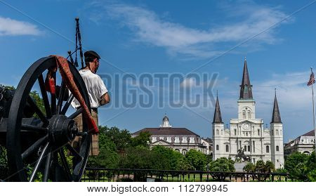 New Orleans Saint Louis Cathedral With Scottish Bagpipe Player