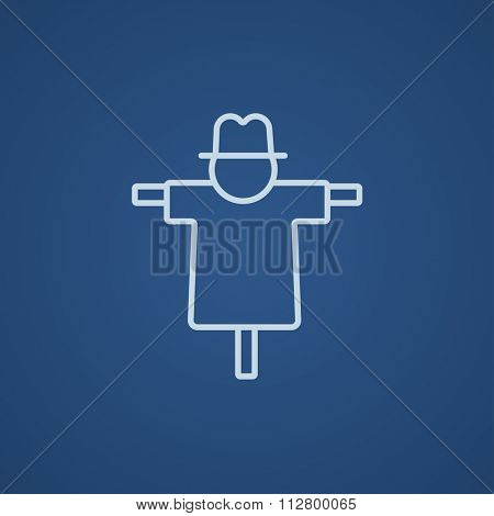 Scarecrow line icon for web, mobile and infographics. Vector light blue icon isolated on blue background.