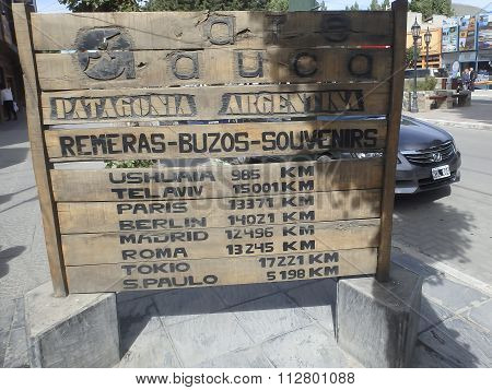 Tourist Sign In El Calafate, Argentina