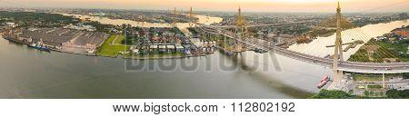 Panorama View Of Bhumibol Bridge Crossing Chaopraya River  Important Transportation Landmark In Bang