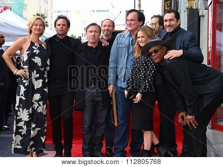 LOS ANGELES - DEC 21:  Quentin Tarantino & Hard Eight cast arrives to the Walk of Fame honors Quentin Tarantino  on December 21, 2015 in Hollywood, CA.