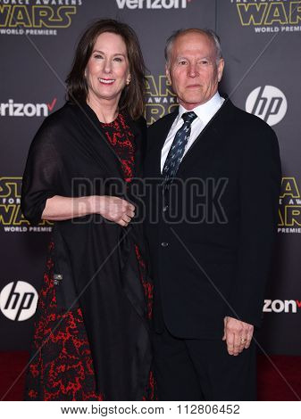 LOS ANGELES - DEC 14:  Kathleen Kennedy & Frank Marshall arrives to the