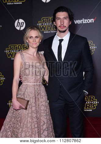 LOS ANGELES - DEC 14:  Adam Driver & Joanne Tucker arrives to the