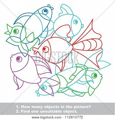 Fish Mishmash Colorful Set In Vector.