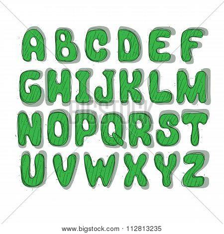green doodle comic font. leters of latin alphabet