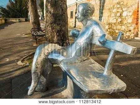 Zagreb upper town promenade. Public statue, poet Antun Gustav Matos, on bench on Upper town in Zagre