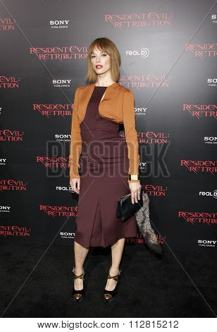 LOS ANGELES, CALIFORNIA - September 12, 2012. Sienna Guillory at the Los Angeles premiere of 'Resident Evil: Retribution' held at the Regal Cinemas L.A. Live, Los Angeles.