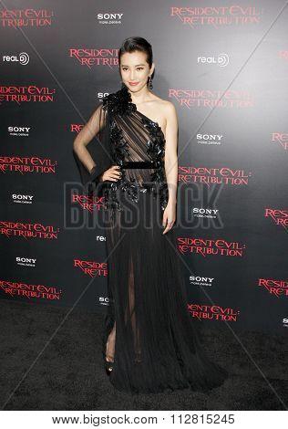 LOS ANGELES, CALIFORNIA - September 12, 2012. Li Bingbing at the Los Angeles premiere of 'Resident Evil: Retribution' held at the Regal Cinemas L.A. Live, Los Angeles.