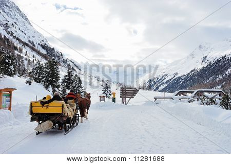Horse sledge on its way