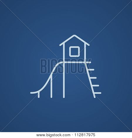 Playhouse with slide line icon for web, mobile and infographics. Vector light blue icon isolated on blue background.