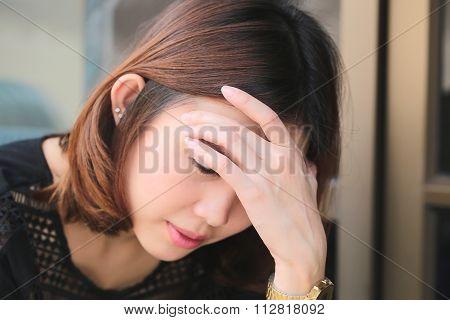 Women Having Headache, Migraine, Hangover, Insomnia.