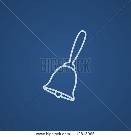School bell line icon for web, mobile and infographics. Vector light blue icon isolated on blue background.